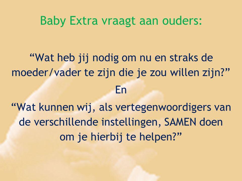 """Baby Extra vraagt aan ouders: """"Wat heb jij nodig om nu en straks de moeder/vader te zijn die je zou willen zijn?"""" En """"Wat kunnen wij, als vertegenwoor"""