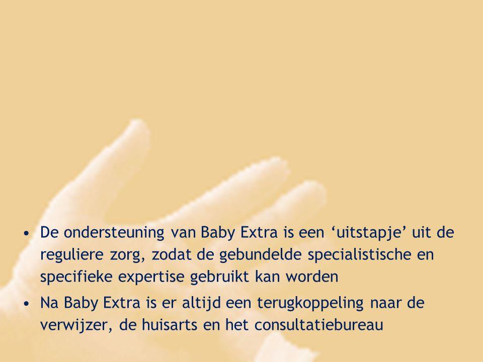 De ondersteuning van Baby Extra is een 'uitstapje' uit de reguliere zorg, zodat de gebundelde specialistische en specifieke expertise gebruikt kan wor