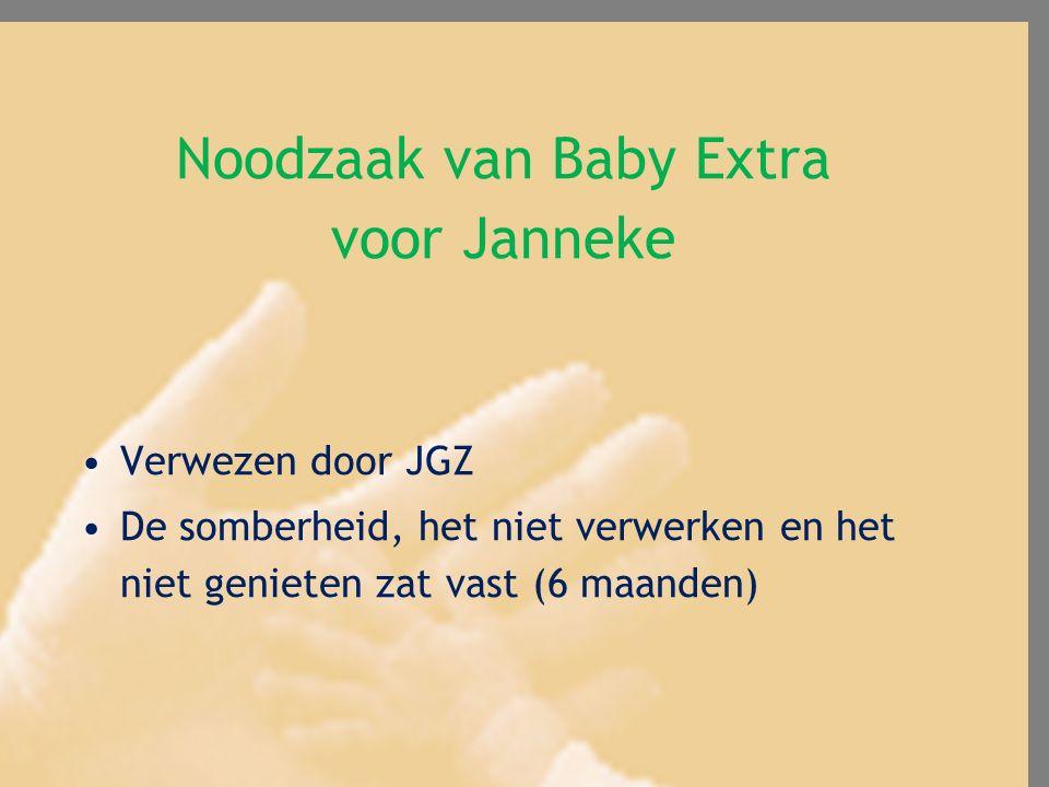 Noodzaak van Baby Extra voor Janneke Verwezen door JGZ De somberheid, het niet verwerken en het niet genieten zat vast (6 maanden)