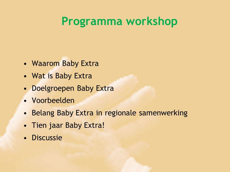 Programma workshop Waarom Baby Extra Wat is Baby Extra Doelgroepen Baby Extra Voorbeelden Belang Baby Extra in regionale samenwerking Tien jaar Baby E