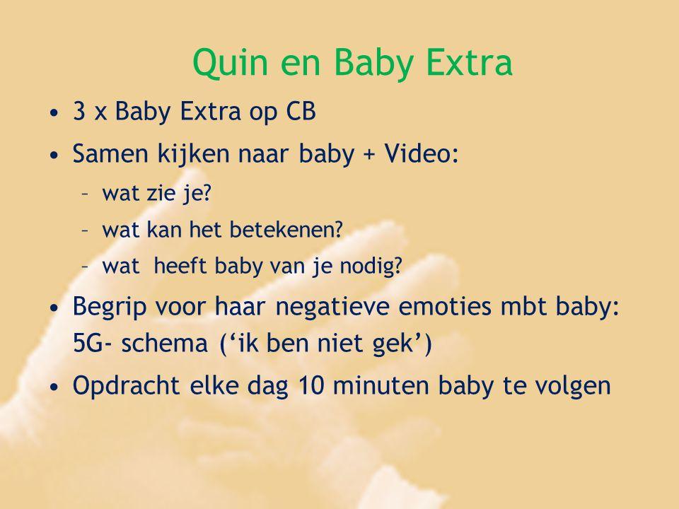 Quin en Baby Extra 3 x Baby Extra op CB Samen kijken naar baby + Video: –wat zie je? –wat kan het betekenen? –wat heeft baby van je nodig? Begrip voor