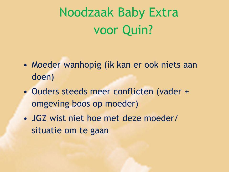 Noodzaak Baby Extra voor Quin? Moeder wanhopig (ik kan er ook niets aan doen) Ouders steeds meer conflicten (vader + omgeving boos op moeder) JGZ wist