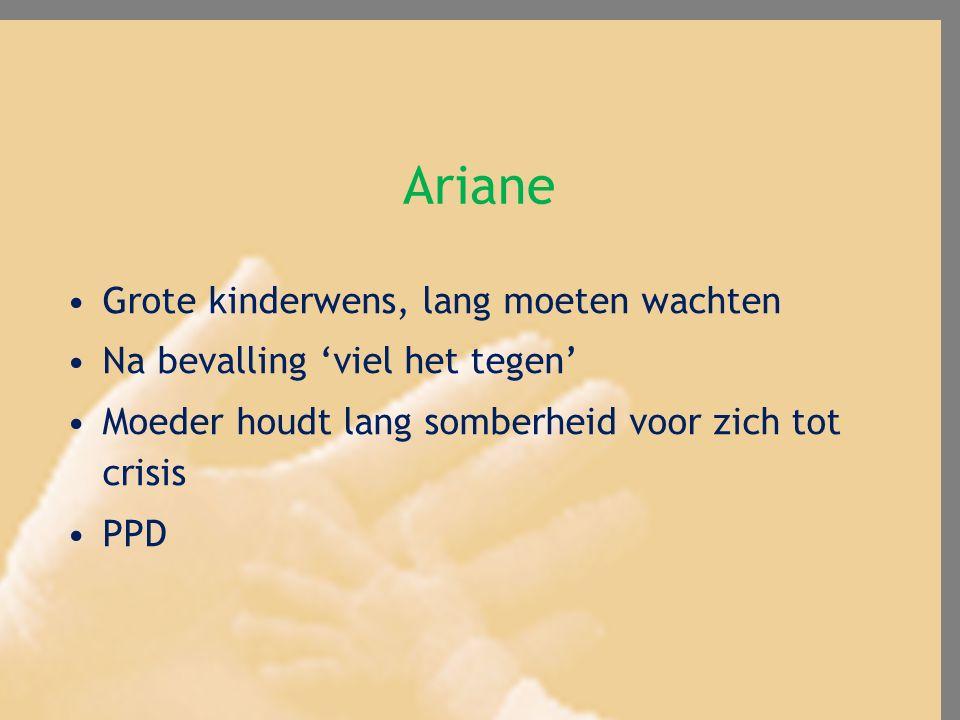 Ariane Grote kinderwens, lang moeten wachten Na bevalling 'viel het tegen' Moeder houdt lang somberheid voor zich tot crisis PPD