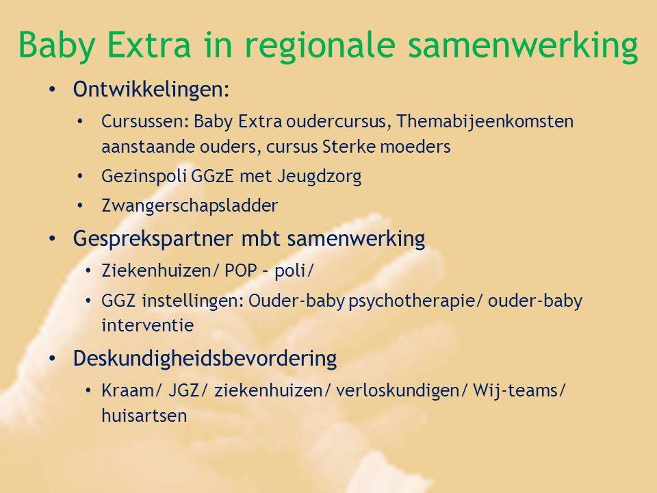 Baby Extra in regionale samenwerking Ontwikkelingen: Cursussen: Baby Extra oudercursus, Themabijeenkomsten aanstaande ouders, cursus Sterke moeders Ge