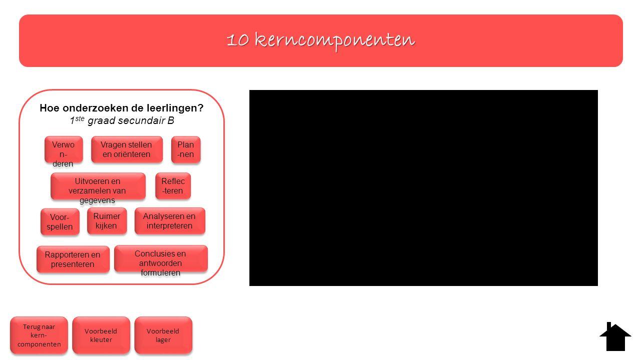 10 kerncomponenten Terug naar kern- componenten Terug naar kern- componenten Voorbeeld kleuter Voorbeeld kleuter Voorbeeld lager Voorbeeld lager Hoe onderzoeken de leerlingen.