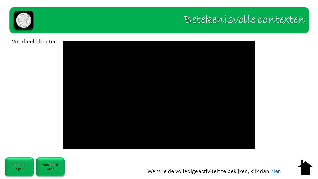 Wens je de volledige activiteit te bekijken, klik dan hier.hier Kernidee pijler Kernidee pijler Voorbeeld lager Voorbeeld lager Betekenisvolle contexten Voorbeeld kleuter: