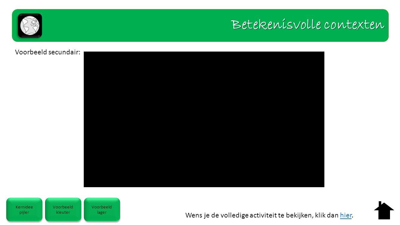 Wens je de volledige activiteit te bekijken, klik dan hier.hier Kernidee pijler Kernidee pijler Voorbeeld kleuter Voorbeeld kleuter Voorbeeld lager Voorbeeld lager Voorbeeld secundair: Betekenisvolle contexten