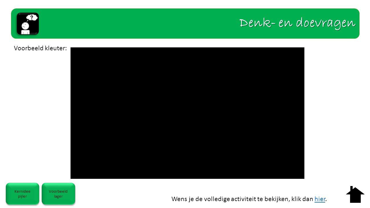 Kernidee pijler Kernidee pijler Voorbeeld lager Voorbeeld lager Voorbeeld kleuter: Denk- en doevragen Wens je de volledige activiteit te bekijken, klik dan hier.hier