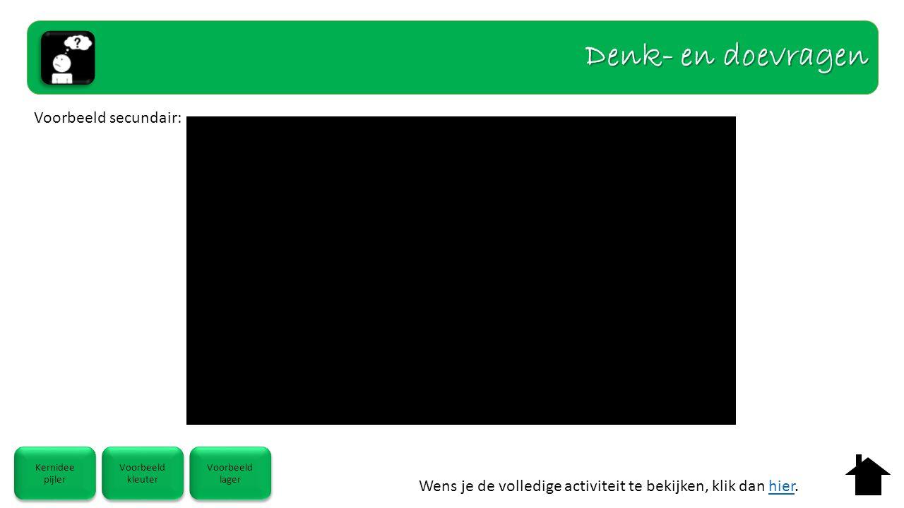 Wens je de volledige activiteit te bekijken, klik dan hier.hier Kernidee pijler Kernidee pijler Voorbeeld kleuter Voorbeeld kleuter Voorbeeld lager Voorbeeld lager Voorbeeld secundair: Denk- en doevragen