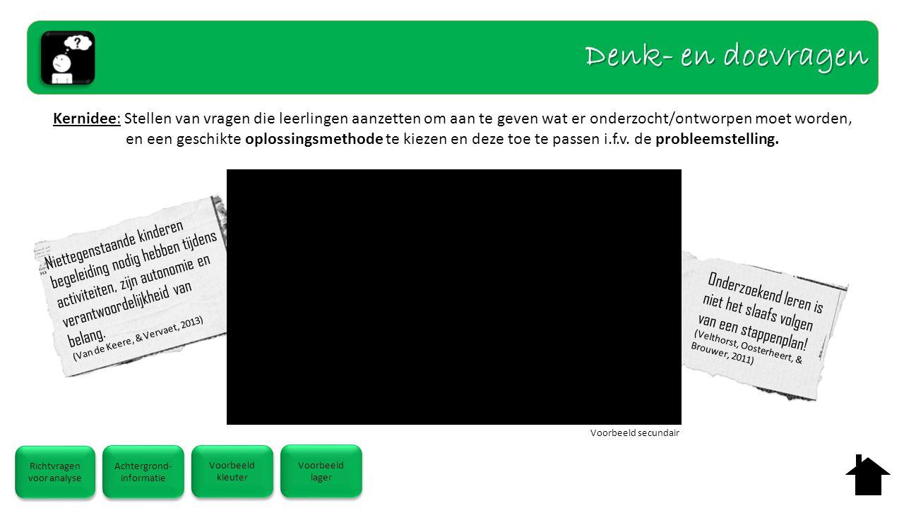 Kernidee: Stellen van vragen die leerlingen aanzetten om aan te geven wat er onderzocht/ontworpen moet worden, en een geschikte oplossingsmethode te kiezen en deze toe te passen i.f.v.