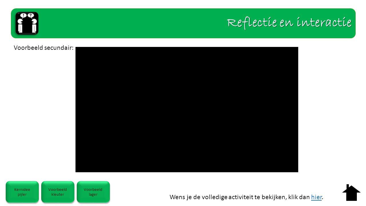 Wens je de volledige activiteit te bekijken, klik dan hier.hier Kernidee pijler Kernidee pijler Voorbeeld kleuter Voorbeeld kleuter Voorbeeld lager Voorbeeld lager Voorbeeld secundair: Reflectie en interactie