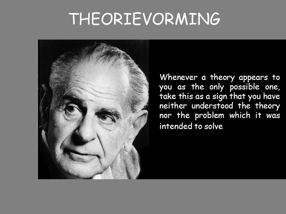 THEORIEVORMING Wetenschappelijk onderzoek als survival of the fittest In proces trial and error overleeft de beste theorie Model ook van toepassing op