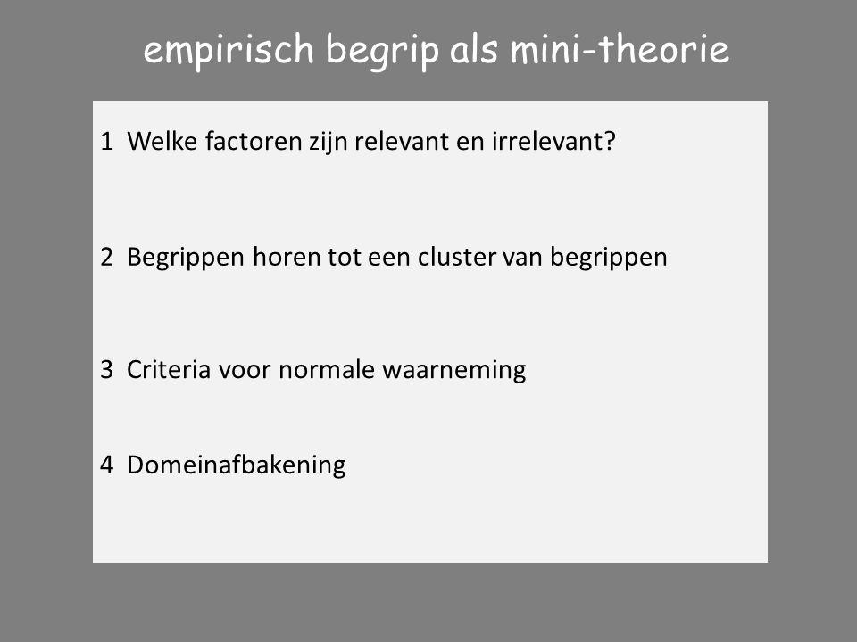 FALISIFIEERBAARHEID 1 Welke factoren zijn relevant en irrelevant? empirisch begrip als mini-theorie 2 Begrippen horen tot een cluster van begrippen 3