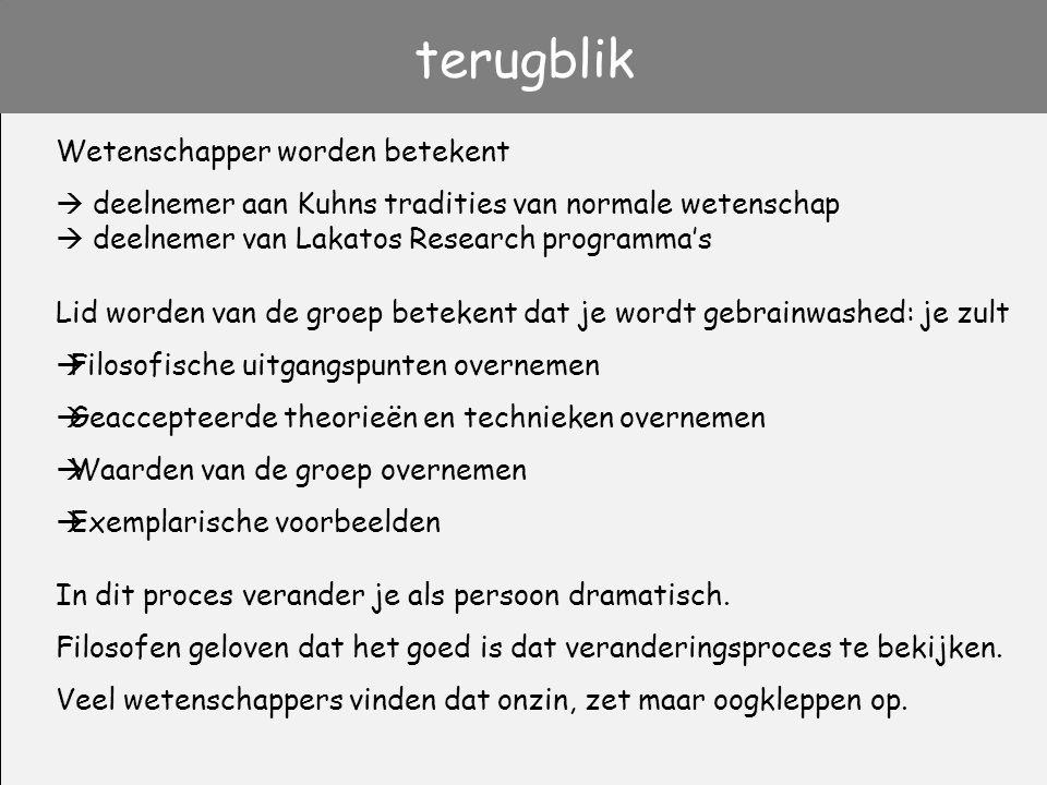 terugblik Wetenschapper worden betekent  deelnemer aan Kuhns tradities van normale wetenschap  deelnemer van Lakatos Research programma's Lid worden