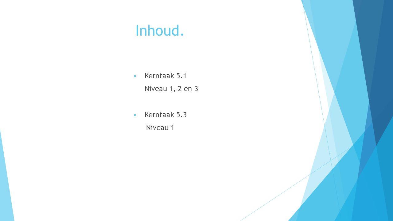 Inhoud.  Kerntaak 5.1 Niveau 1, 2 en 3  Kerntaak 5.3 Niveau 1