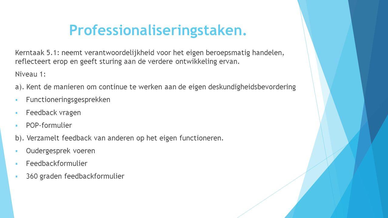 Professionaliseringstaken. Kerntaak 5.1: neemt verantwoordelijkheid voor het eigen beroepsmatig handelen, reflecteert erop en geeft sturing aan de ver
