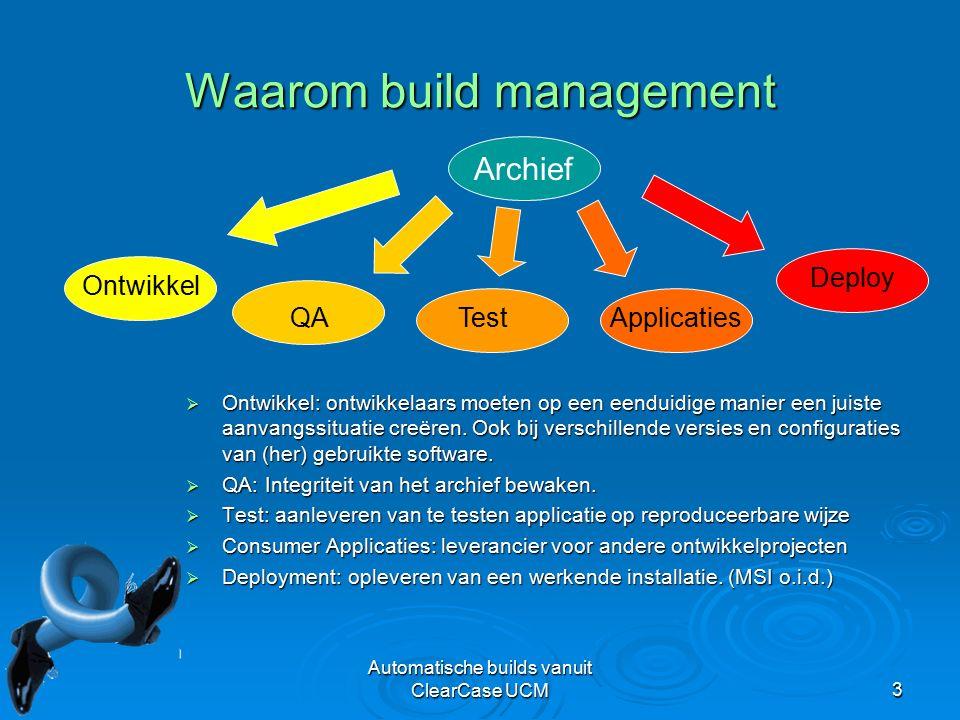 Automatische builds vanuit ClearCase UCM3 Waarom build management  Ontwikkel: ontwikkelaars moeten op een eenduidige manier een juiste aanvangssituatie creëren.