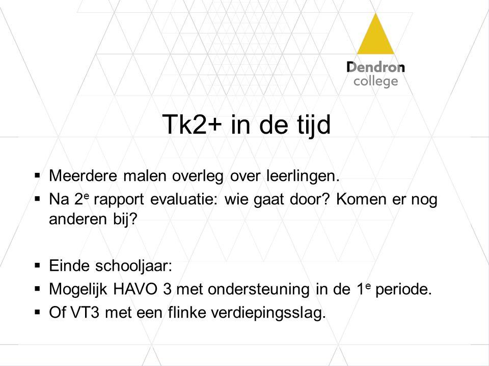 Tk2+ in de tijd  Meerdere malen overleg over leerlingen.