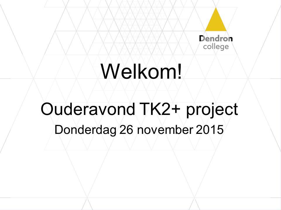 Welkom! Ouderavond TK2+ project Donderdag 26 november 2015