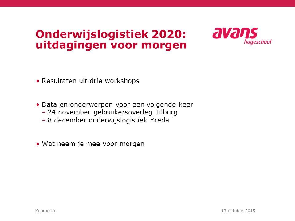 Kenmerk:13 oktober 2015 Onderwijslogistiek 2020: uitdagingen voor morgen Resultaten uit drie workshops Data en onderwerpen voor een volgende keer –24 november gebruikersoverleg Tilburg –8 december onderwijslogistiek Breda Wat neem je mee voor morgen