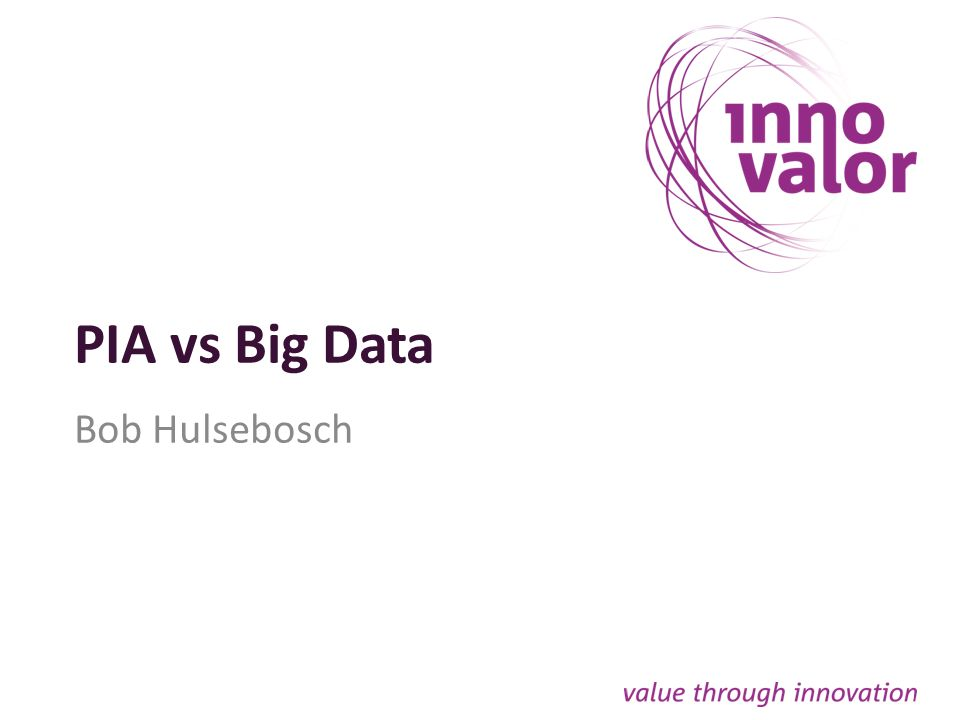 PIA vs Big Data Bob Hulsebosch