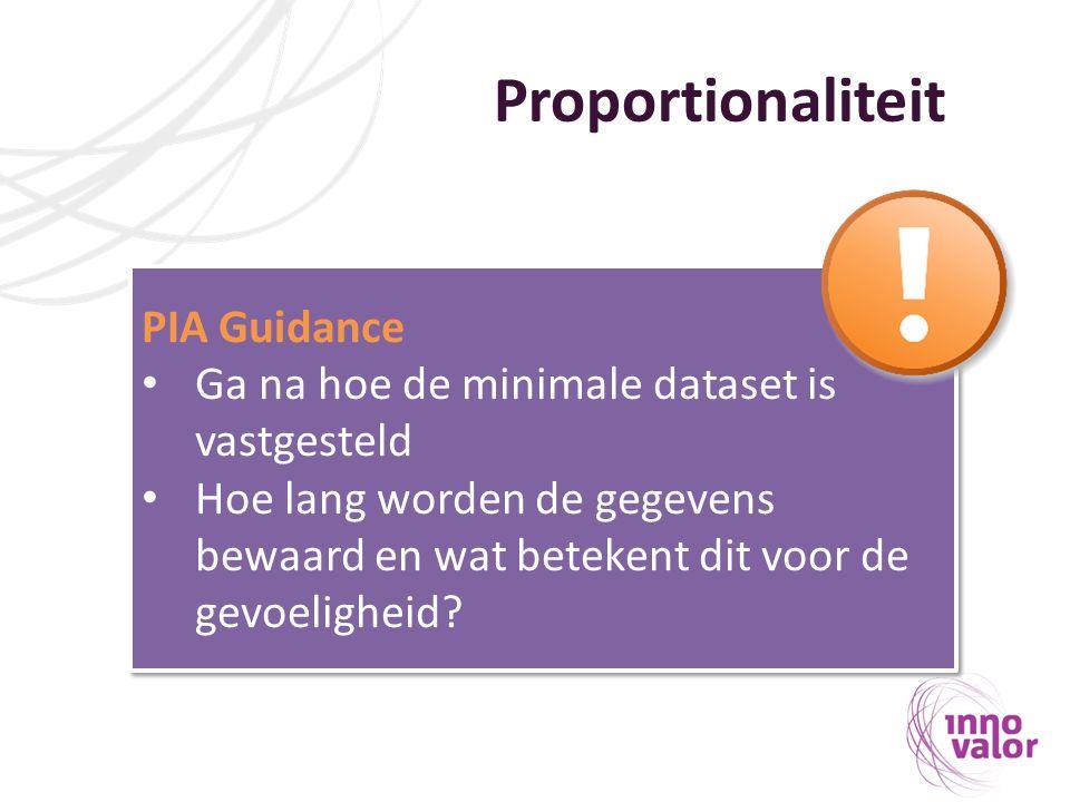 Proportionaliteit PIA Guidance Ga na hoe de minimale dataset is vastgesteld Hoe lang worden de gegevens bewaard en wat betekent dit voor de gevoeligheid.