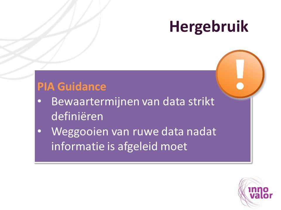 Hergebruik PIA Guidance Bewaartermijnen van data strikt definiëren Weggooien van ruwe data nadat informatie is afgeleid moet PIA Guidance Bewaartermij