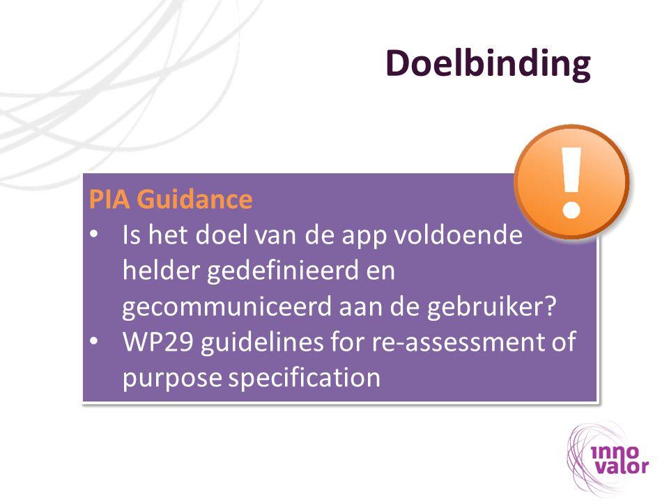 Doelbinding PIA Guidance Is het doel van de app voldoende helder gedefinieerd en gecommuniceerd aan de gebruiker? WP29 guidelines for re-assessment of