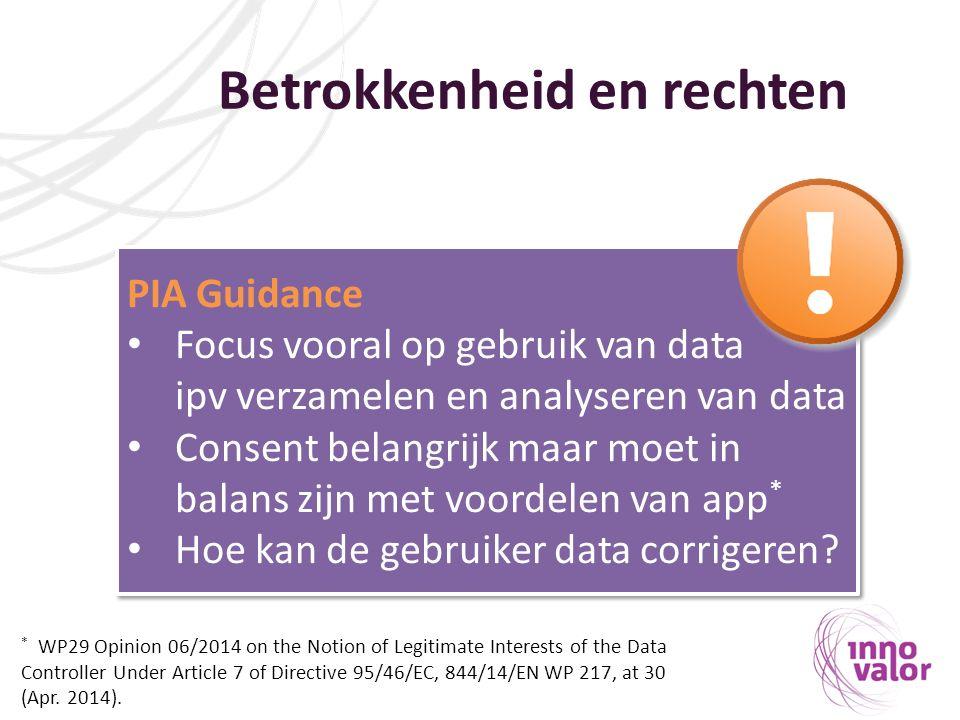 Betrokkenheid en rechten PIA Guidance Focus vooral op gebruik van data ipv verzamelen en analyseren van data Consent belangrijk maar moet in balans zijn met voordelen van app * Hoe kan de gebruiker data corrigeren.