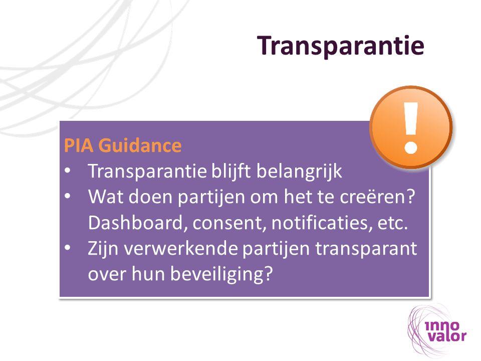 Transparantie PIA Guidance Transparantie blijft belangrijk Wat doen partijen om het te creëren? Dashboard, consent, notificaties, etc. Zijn verwerkend