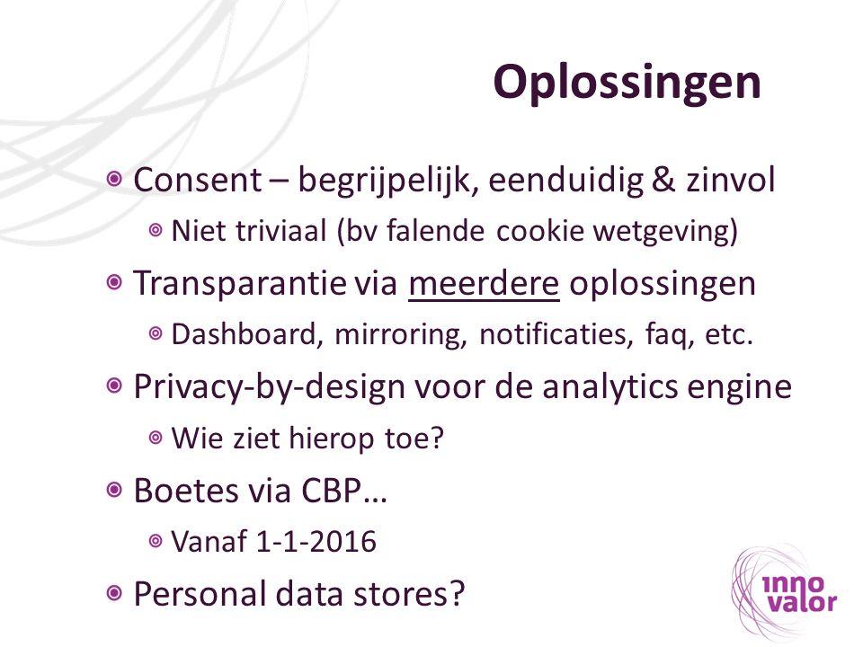 Oplossingen Consent – begrijpelijk, eenduidig & zinvol Niet triviaal (bv falende cookie wetgeving) Transparantie via meerdere oplossingen Dashboard, mirroring, notificaties, faq, etc.