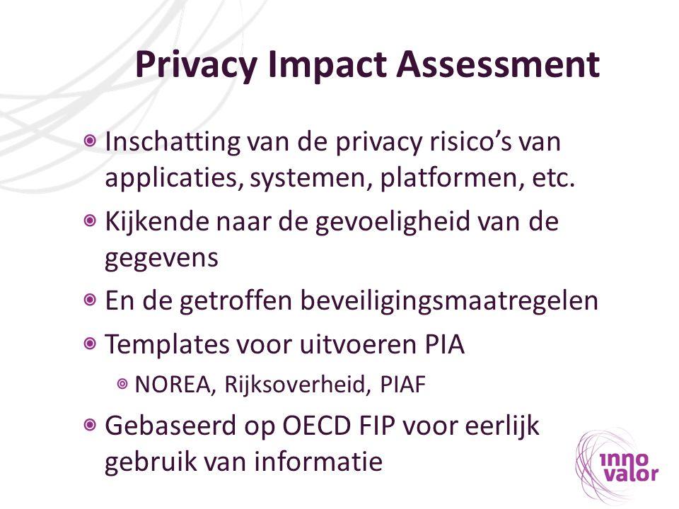 Privacy Impact Assessment Inschatting van de privacy risico's van applicaties, systemen, platformen, etc. Kijkende naar de gevoeligheid van de gegeven