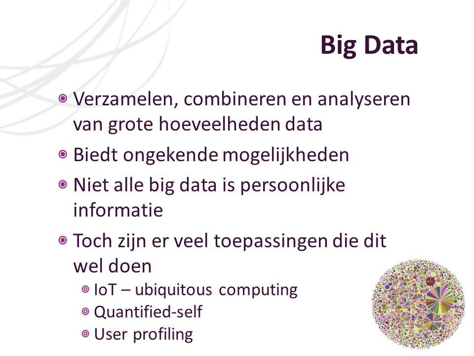 Big Data Verzamelen, combineren en analyseren van grote hoeveelheden data Biedt ongekende mogelijkheden Niet alle big data is persoonlijke informatie Toch zijn er veel toepassingen die dit wel doen IoT – ubiquitous computing Quantified-self User profiling