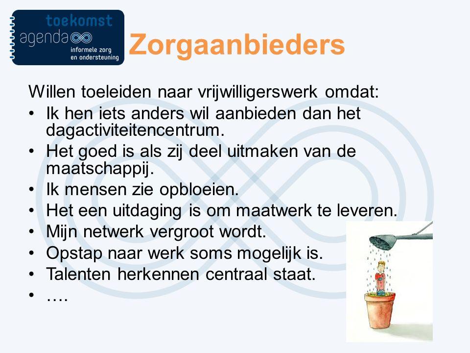 Zorgaanbieders Willen toeleiden naar vrijwilligerswerk omdat: Ik hen iets anders wil aanbieden dan het dagactiviteitencentrum.
