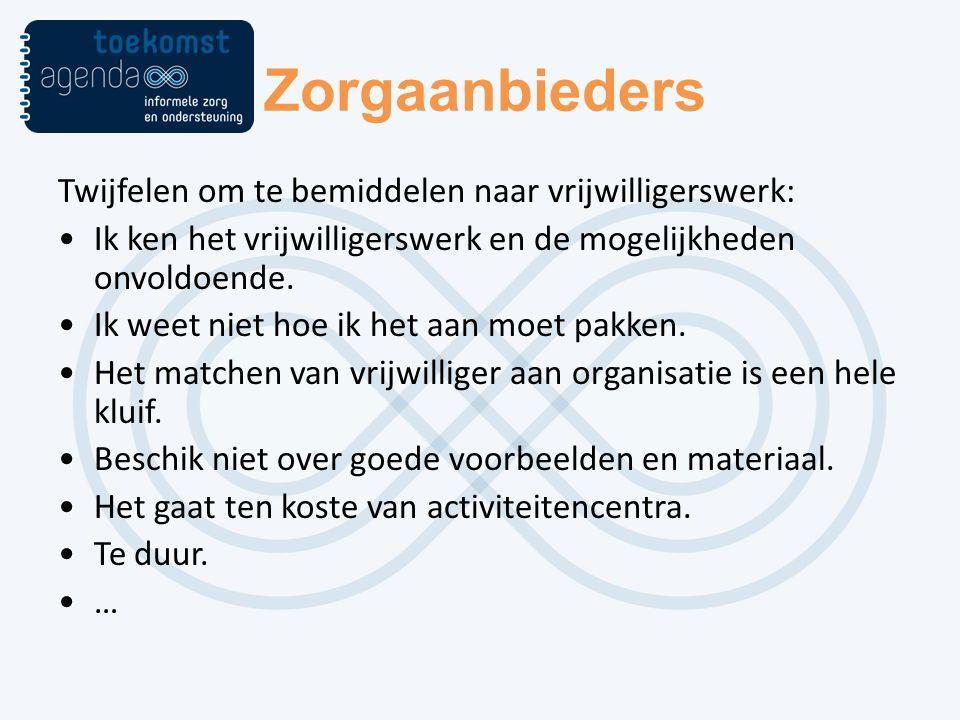 Zorgaanbieders Twijfelen om te bemiddelen naar vrijwilligerswerk: Ik ken het vrijwilligerswerk en de mogelijkheden onvoldoende.