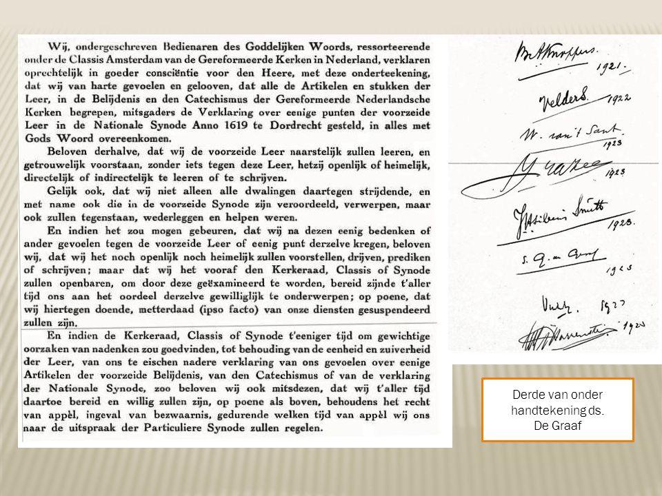 Derde van onder handtekening ds. De Graaf