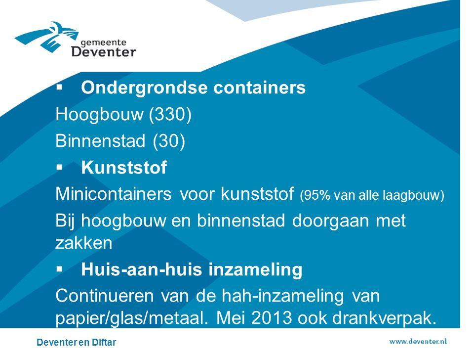  Ondergrondse containers Hoogbouw (330) Binnenstad (30)  Kunststof Minicontainers voor kunststof (95% van alle laagbouw) Bij hoogbouw en binnenstad doorgaan met zakken  Huis-aan-huis inzameling Continueren van de hah-inzameling van papier/glas/metaal.