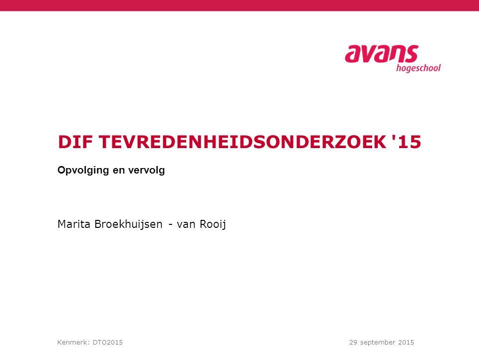 Marita Broekhuijsen - van Rooij Kenmerk: DTO201529 september 2015 DIF TEVREDENHEIDSONDERZOEK 15 Opvolging en vervolg
