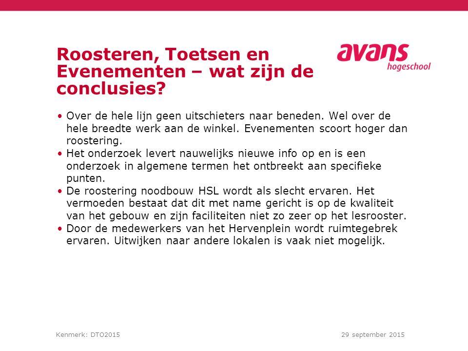 Kenmerk: DTO201529 september 2015 Roosteren, Toetsen en Evenementen – wat zijn de conclusies.