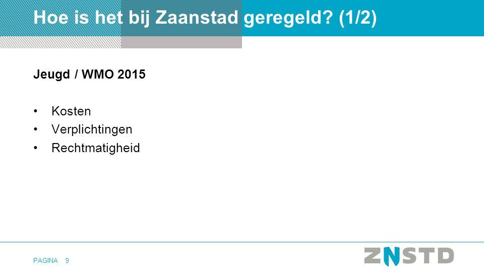 PAGINA Jeugd / WMO 2015 Kosten Verplichtingen Rechtmatigheid 9 Hoe is het bij Zaanstad geregeld? (1/2)