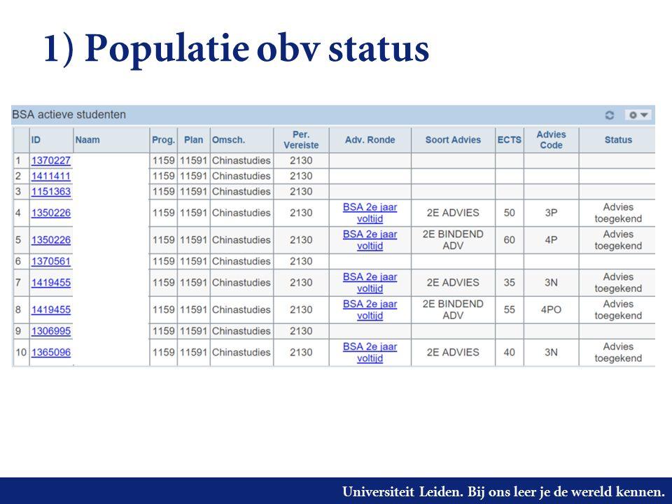 Universiteit Leiden. Bij ons leer je de wereld kennen. 1) Populatie obv status