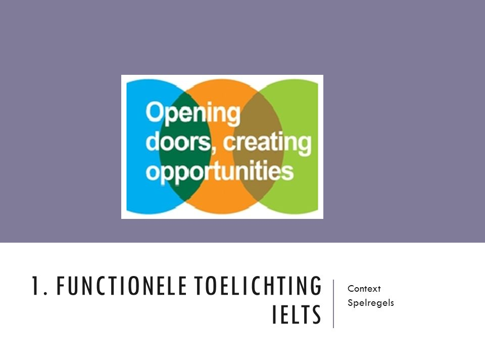1. FUNCTIONELE TOELICHTING IELTS Context Spelregels