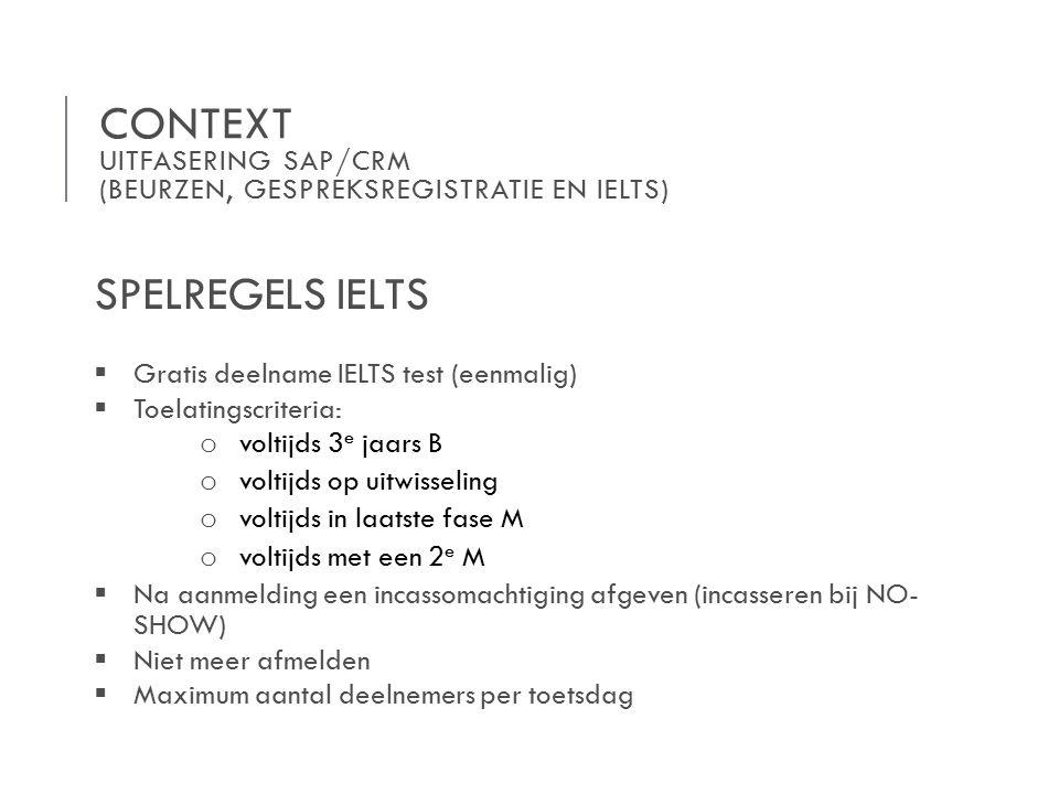 CONTEXT UITFASERING SAP/CRM (BEURZEN, GESPREKSREGISTRATIE EN IELTS) SPELREGELS IELTS  Gratis deelname IELTS test (eenmalig)  Toelatingscriteria: o voltijds 3 e jaars B o voltijds op uitwisseling o voltijds in laatste fase M o voltijds met een 2 e M  Na aanmelding een incassomachtiging afgeven (incasseren bij NO- SHOW)  Niet meer afmelden  Maximum aantal deelnemers per toetsdag