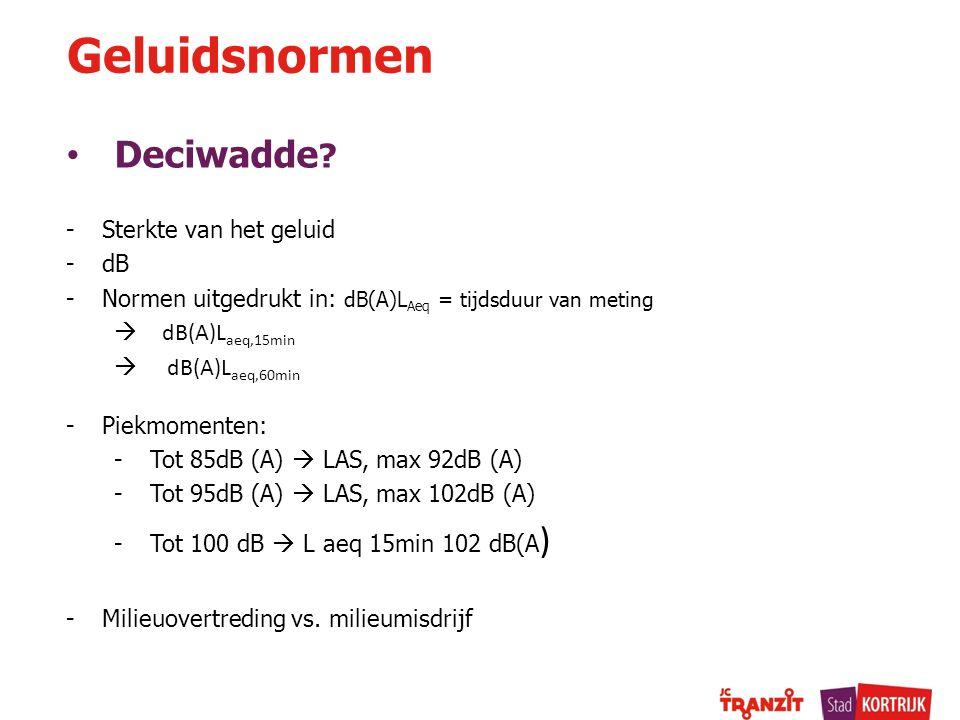 Deciwadde ? -Sterkte van het geluid -dB -Normen uitgedrukt in: dB(A)L Aeq = tijdsduur van meting  dB(A)L aeq,15min  dB(A)L aeq,60min -Piekmomenten: