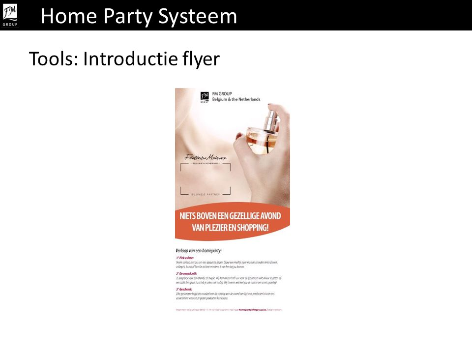 Home Party Systeem Tools: Introductie flyer