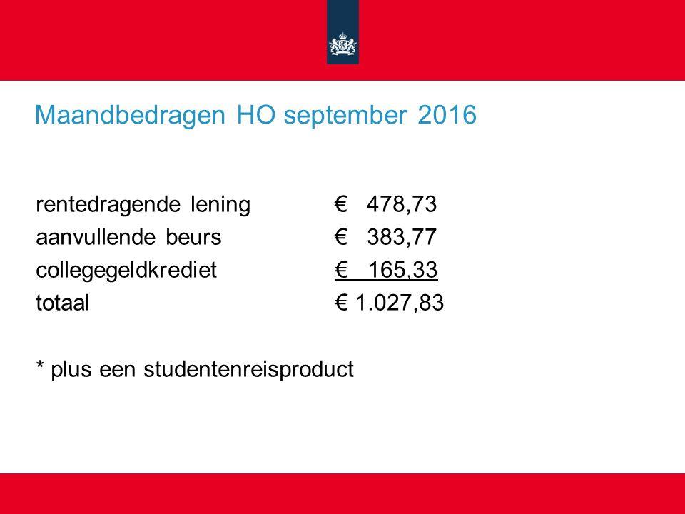 Maandbedragen HO september 2016 rentedragende lening € 478,73 aanvullende beurs € 383,77 collegegeldkrediet € 165,33 totaal € 1.027,83 * plus een studentenreisproduct