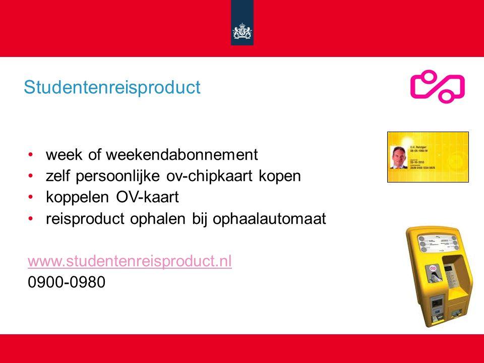 week of weekendabonnement zelf persoonlijke ov-chipkaart kopen koppelen OV-kaart reisproduct ophalen bij ophaalautomaat www.studentenreisproduct.nl 0900-0980 Studentenreisproduct