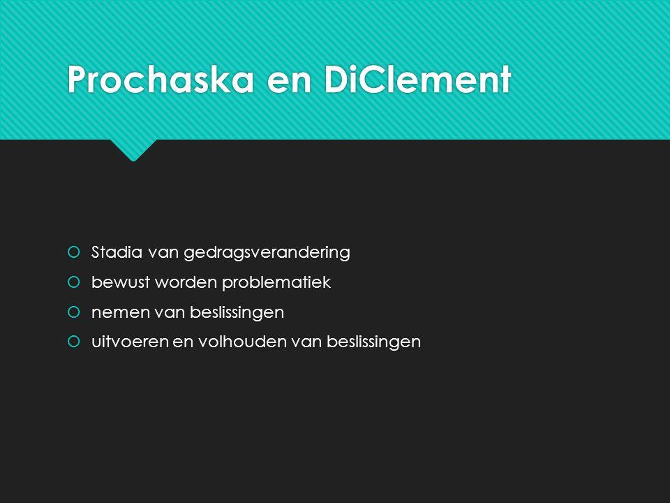 Prochaska en DiClement  Stadia van gedragsverandering  bewust worden problematiek  nemen van beslissingen  uitvoeren en volhouden van beslissingen  Stadia van gedragsverandering  bewust worden problematiek  nemen van beslissingen  uitvoeren en volhouden van beslissingen