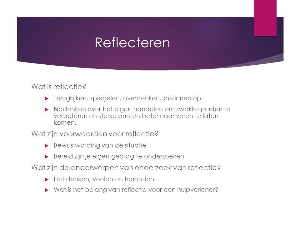 Reflecteren Wat is reflectie?  Terugkijken, spiegelen, overdenken, bezinnen op.  Nadenken over het eigen handelen om zwakke punten te verbeteren en