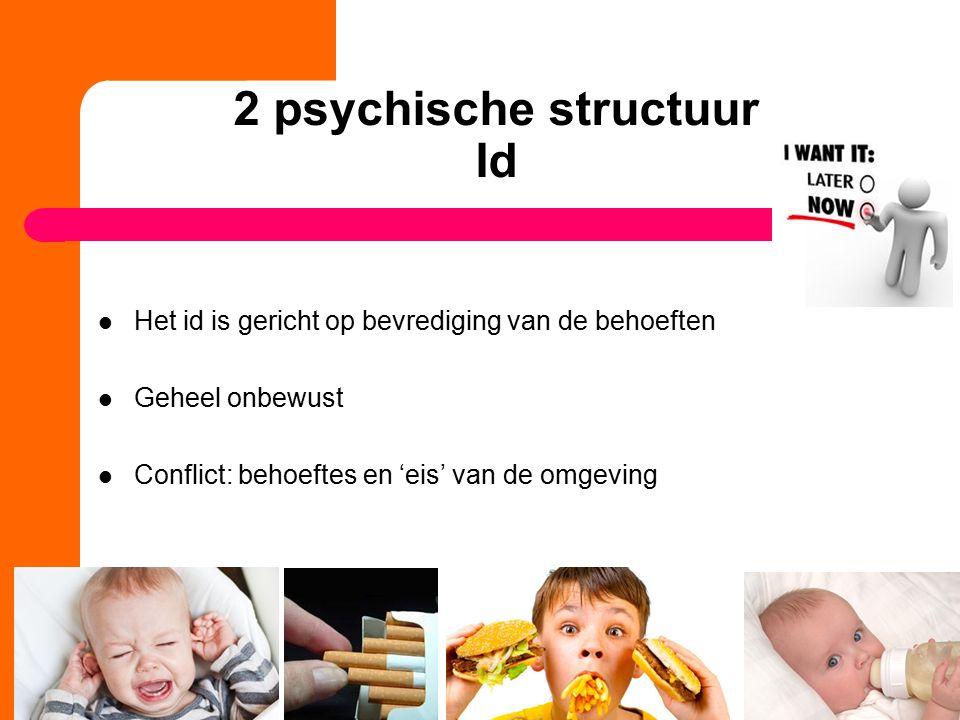 2 psychische structuur Id Het id is gericht op bevrediging van de behoeften Geheel onbewust Conflict: behoeftes en 'eis' van de omgeving 11